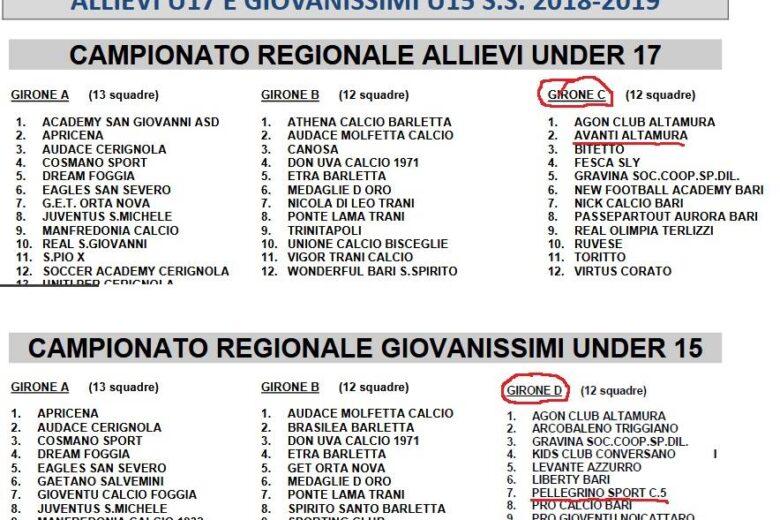 Gironi Campionati Regionali Allievi Under 17. Ecco con chi si trova l'ASD Avanti Altamura…